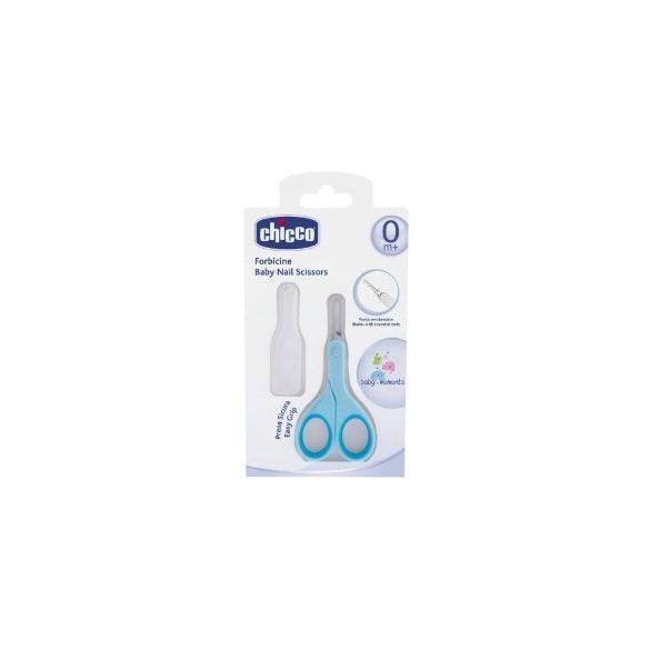 Chicco BabyMoments nožnice s okrúhlou špičkou + vrchnák - modrý
