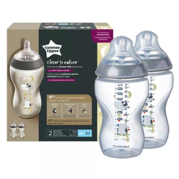 Tommee Tippee Closer To Nature dojčenská fľaša bez BPA 2x340ml duo - Ollie sova