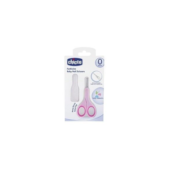 Chicco BabyMoments nožnice s okrúhlou špičkou + vrchnák - ružový