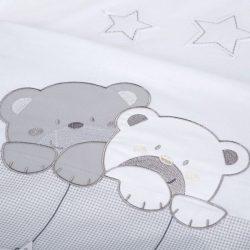 Albero Mio 5 dielna súprava do postieľky - H186 Medvedíky s hviezdou sivo-biela