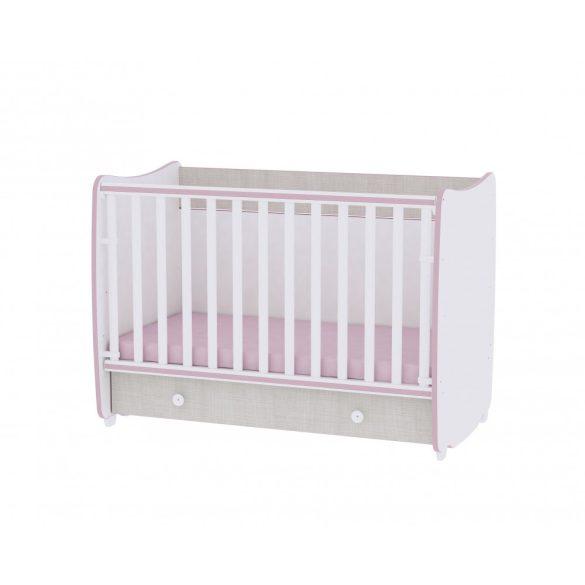 Lorelli Dream variabilná, hojdacia postieľka 60x120 - White & Pink Crossline