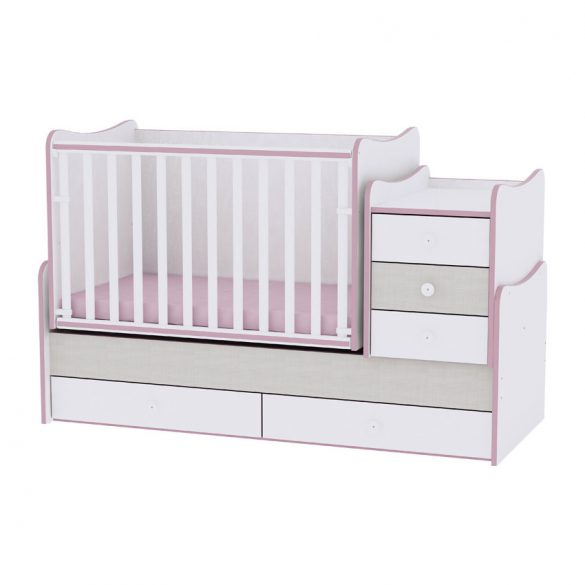 Lorelli Maxi Plus kombi postieľka 70x160 - White & Pink Crossline / Biela & Pink