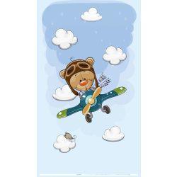 Best4Baby Medvedík v lietadle záclona do detskej izby - mušelínová záclona