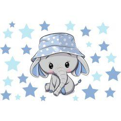 Best4Baby Samolepka na stenu - Sloník modrý, biela