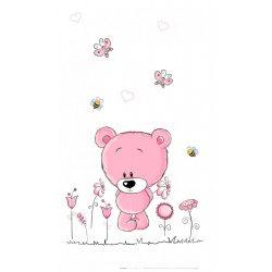Best4Baby Medvedík s kvetmi ružový, záclona do detskej izby