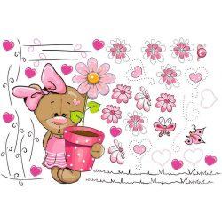 Best4Baby Samolepka na stenu - Macík medzi kvetmi, ružová - priesvitná