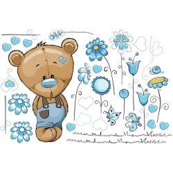 Best4Baby Samolepka na stenu - Macík medzi kvetmi, modrá - priesvitná