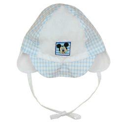 Asti Detská letná čiapka Mickey, biela- modrá kockovaná veľ. 56