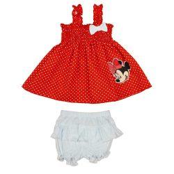 Asti 2 dielna súprava pre dievčatká Minnie, červená, bodkovaná veľ.56