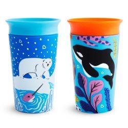 Munchkin 2ks Miracle 360 pohár 266ml - Wild Love Orca/Polar
