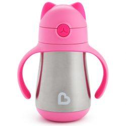Munchkin Cool Cat™ termofľaša so slamkou  240ml - pink