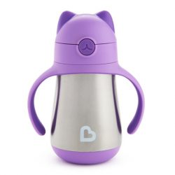 Munchkin Cool Cat™ termofľaša so slamkou 240ml  - purple